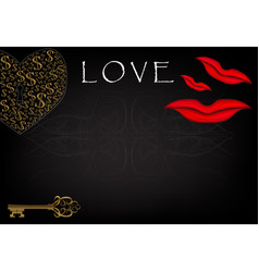 inscription love and heart on a black background vector image