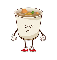 kawaii soup ramen angry japanese food image vector image