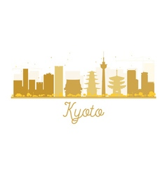 Kyoto City skyline golden silhouette vector image