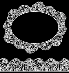 Lace oval frame and seamless stripe - Vintage whit vector image