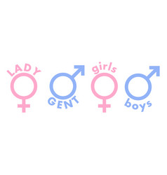 ladies gents - male female signs icons in pink vector image