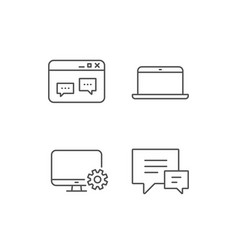 laptop chat speech bubbles and monitor icons vector image
