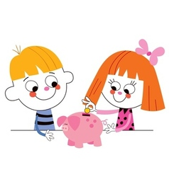 little boy and girl with piggy bank Childrens vector image