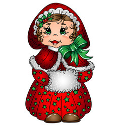 little girl in a christmas costume wall sticker vector image