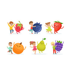 Little kids playing with big fruits and berries vector