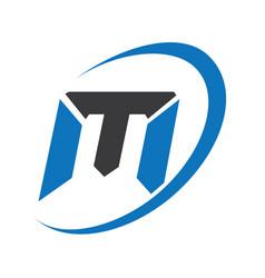 M modern business letter logo design vector
