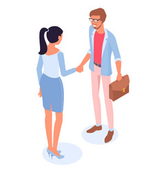 man and woman handshaking vector image