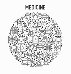 medicine concept in circle with thin line icons vector image
