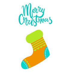 merry christmas greeting card with knitted sock vector image