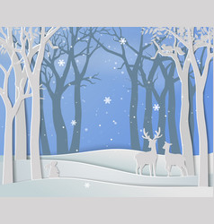 Merry christmas with deer family in winter season vector