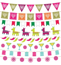 Mexican party bunting flags set vector