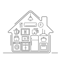 Modern kitchenware thin line icons vector image
