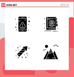 Modern set 4 solid glyphs pictograph app vector