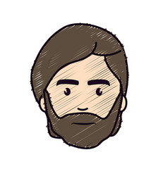 Nice face man with beard and hairstyle vector