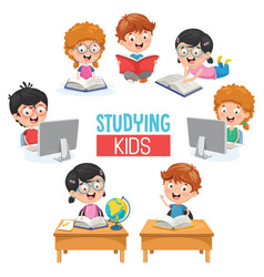 of kids studying vector image