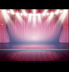 Open red curtains with seats and neon spotlights vector