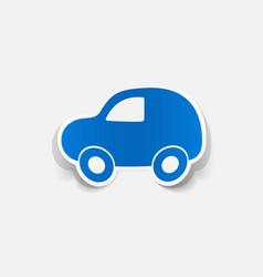Paper clipped sticker symbol car vector