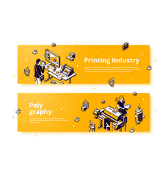Polygraphy printing house isometric web banner vector