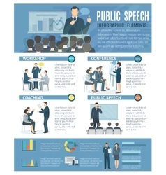 Public Speaking Infographic Elements Flat Poster vector image