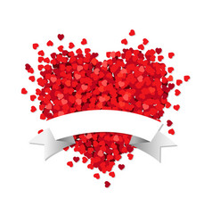 red heart with white ribbon vector image