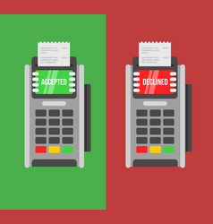 Rejected and approved payment pos terminal vector