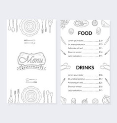 Restaurant menu template food and drinks brochure vector