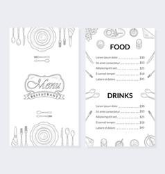 restaurant menu template food and drinks brochure vector image