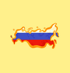 Russia - map colored with russian flag vector