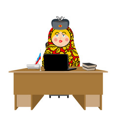 Russian hacker matryoshka and laptop ip vector