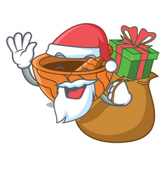 Santa with gift wooden kitchen mortar isolated on vector