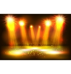 Scene illumination show bright lighting with gold vector