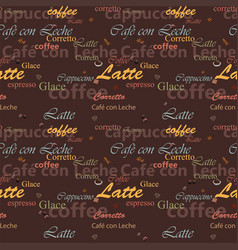 Seamless pattern with coffee names vector