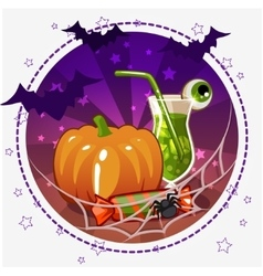 Set icons cocktails and pumpkin for Halloween vector