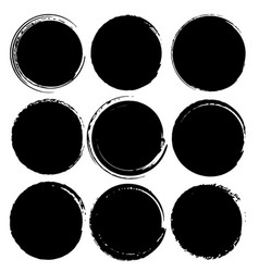 set of grunge circles grunge round shapes vector image