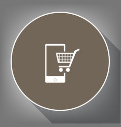 shopping on smart phone sign white icon vector image
