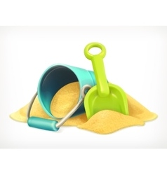 Shovel and bucket in the sand vector image