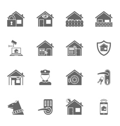 Smart home security system black icons set vector image