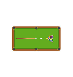 snooker or billiard table and cue stick and vector image