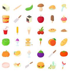 spaghetti icons set cartoon style vector image