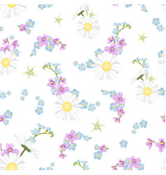 Spring summer field flowers mix seamless pattern vector