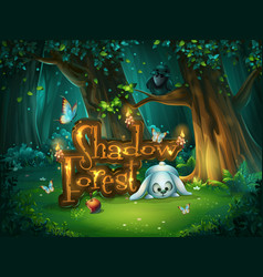 start window shadowy forest gui vector image