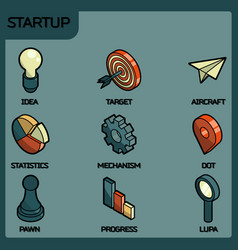 Startup color outline isometric icons vector