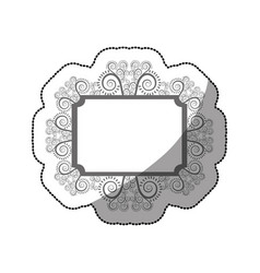 Sticker gray scale rectangle vintage baroque frame vector