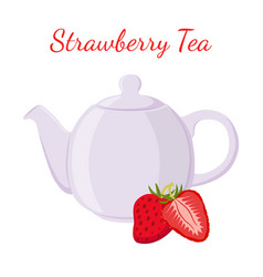 Strawberry tea in teapot with berries vector