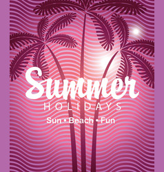 summer tropical banner with palms and waves vector image