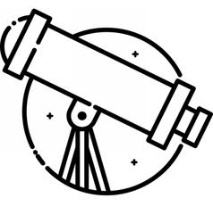 Telescope under the stars vector