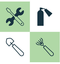 Tools icons set collection of firefighter harrow vector