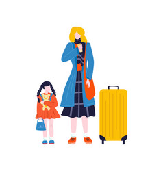 Tourist woman walking with suitcase baggage in vector
