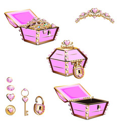 Treasure chest with pink jewelry and tiara vector