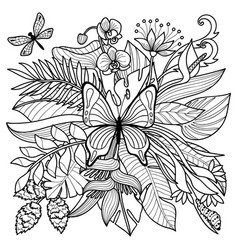 Tropical coloring page vector